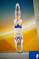 London, England, 12-02-25. Peter WATERFIELD (GBR) competing in the men's 10m platform semi-finals at the 18th FINA Visa World Cup Diving, Olympic Aquatics Centre. Part of the London Prepares Olympic preparations.
