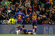 Goal Barcelona forward Lionel Messi (10) celebrates scores a goal 3-0 during the Champions League semi-final leg 1 of 2 match between Barcelona and Liverpool at Camp Nou, Barcelona, Spain on 1 May 2019.