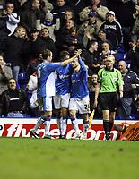 Photo: Rich Eaton.<br /> <br /> Birmingham City v Preston North End. Coca Cola Championship. 09/12/2006. Gary McSheffrey of Birmingham City (rt) is congratulated by teammates after scoring his hatrick