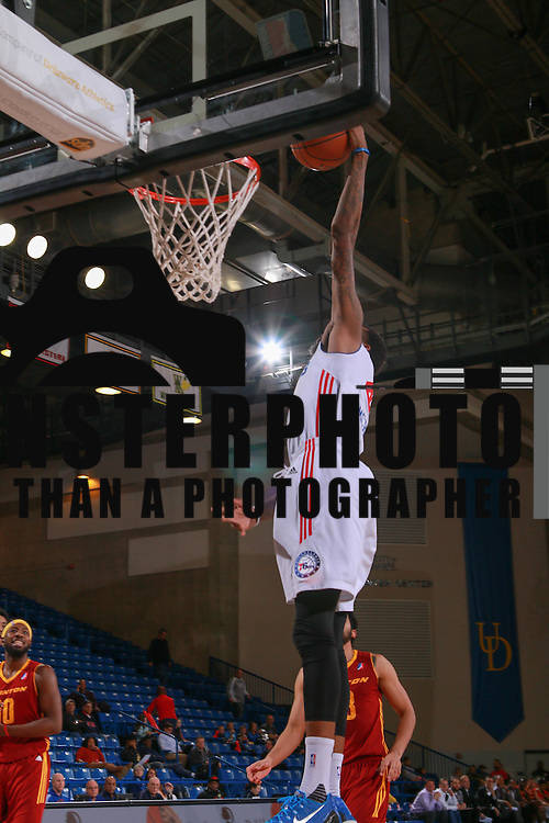 Delaware 87ers Guard JORDAN MCRAE (4) dunks in the second half of a NBA D-league regular season basketball game between the Delaware 87ers and the Canton Charge Tuesday, JAN, 26, 2016 at The Bob Carpenter Sports Convocation Center in Newark, DEL.<br /> <br /> Delaware 87ers guard Jordan McRae broke the NBA minor league&rsquo;s single-game scoring record going 21-34 finishing with 61 points in a 130-123 overtime win over the Canton Charge.