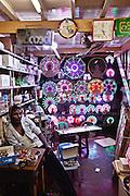 Buddhist accessories and LED lighting. Yangon, Myanmar.