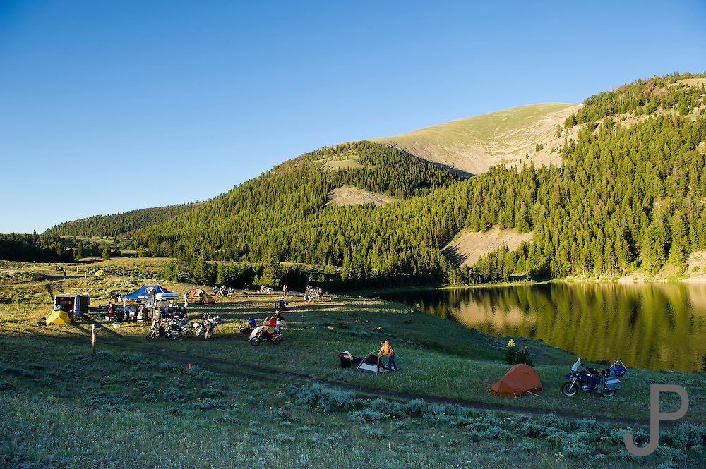 Breaking camp in the morning at Morrison Lake, MT