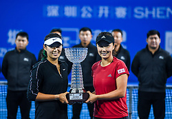 SHENZHEN, Jan. 5, 2019  Peng Shuai (R)Yang Zhaoxuan of China pose on the awarding ceremony after winning the women's doubles final match against Duan Yingying of China and Renata Voracova of Czech Repoblic at the WTA Shenzhen Open tennis tournament in Shenzhen, south China's Guangdong Province, Jan. 5, 2019. (Credit Image: © Xinhua via ZUMA Wire)
