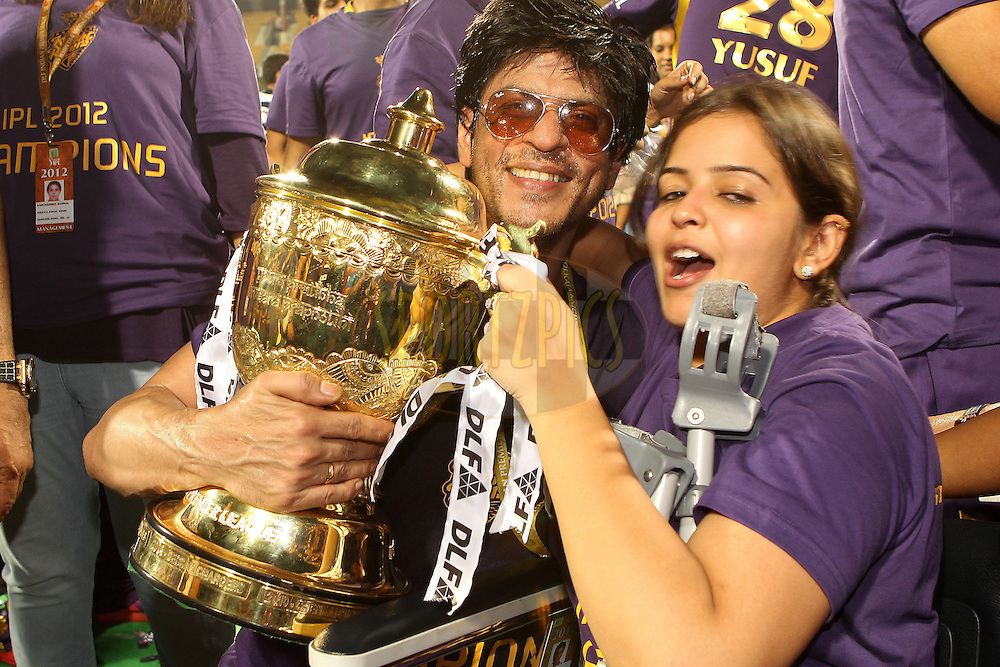 Shah Rukh Khan celebrates with the trophy during the final of the Indian Premier League ( IPL ) 2012  between The Kolkata Knight Riders and the Chennai Superkings held at the M. A. Chidambaram Stadium, Chennai on the 27th May 2012..Photo by Ron Gaunt/IPL/SPORTZPICS