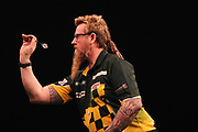 Simon Whitlock, 2012 European Champion & former Premier League finalist during the Unibet Premier League Darts Night 13 competition at the Manchester Arena, Manchester, United Kingdom on 26 April 2018. Picture by Mark Pollitt.