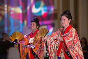 Grand Master Kazuko Chibana Volkmar and the Aharen Honryu Keisen Wa No Kai Okinawa Dance School perform at the International Women's Day Festival on March 13, 2016. Photo by Emily Matthews