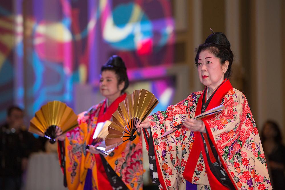 Grand Master Kazuko Chibana Volkmar and the Aharen Honryu Keisen Wa No Kai Okinawa Dance School perform at the International Women's Day Festival on March 13, 2016. Photo by Emily Matthews