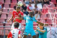 28-05-2017: Voetbal: FC Utrecht v AZ: Utrecht<br /> <br /> (L-R) FC Utrecht speler Sebastien Haller, AZ speler Ridgeciano Haps tijdens het Eredivisie duel tussen FC Utrecht en AZ op 28 mei 2017 in stadion Galgenwaard tijdens de finale play-offs <br /> <br /> Finale Play-offs, Eredivisie - Seizoen 2016 / 2017<br /> <br /> Foto: Gertjan Kooij