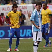 Lionel Messi, Argentina, (right) and Neymar, Brazil, during the Brazil V Argentina International Football Friendly match at MetLife Stadium, East Rutherford, New Jersey, USA. 9th June 2012. Photo Tim Clayton