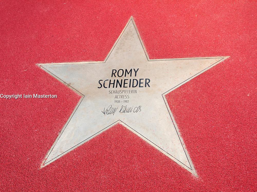 Romy Schneider star on Boulevard der Stars a special boulevard tribute to movie stars  at Potsdamer Platz in Berlin opened 10 September 2010