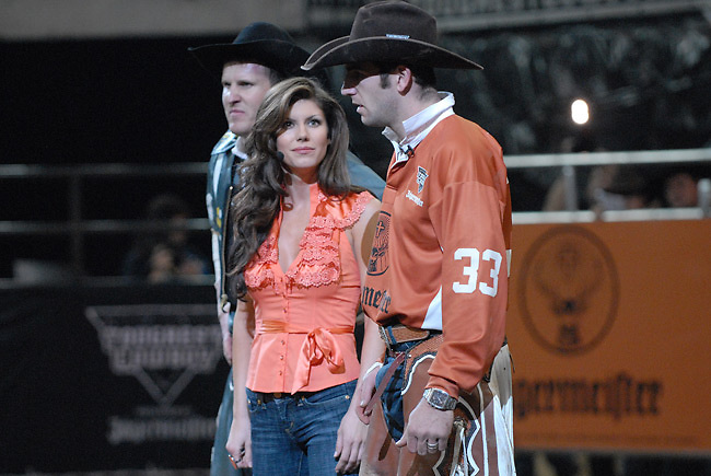 Dusty Elkinton (#33) during the announcement that he has been eliminated from the Tough Cowboy competition and will no longer be on the tour because he scored the lowest score in the evening's competition.