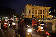 Traffic in front of the Opera House in Hanoi, Vietnam on Jan 10, 2013..(Photo by Kuni Takahashi)