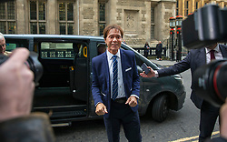 © Licensed to London News Pictures. 17/04/2018. London, UK. SIR CLIFF RICHARD arrives at the Rolls Building of the High Court in London where he is claiming damages against the BBC for loss of earnings. The 77-year-old singer is suing the corporation after his home in Sunningdale, Berkshire was raided following allegations of sexual assault made to Metropolitan Police. Photo credit: Rob Pinney/LNP