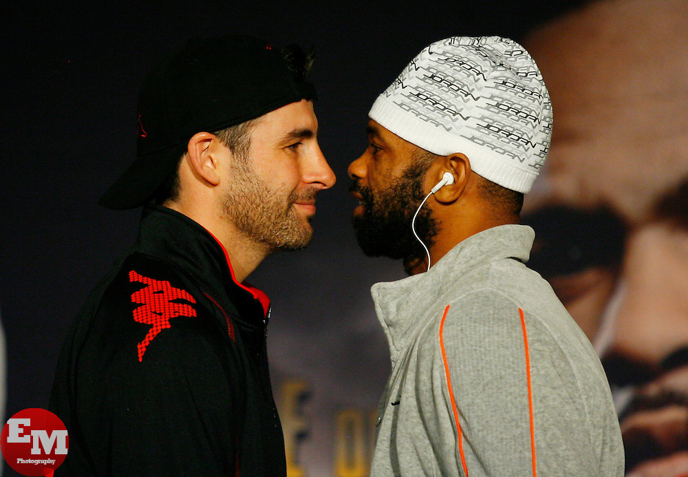 Nov 5, 2008; New York, NY, USA; Joe Calzaghe (l) and Roy Jones Jr. (r) pose at the final press conference for their November 8, 2008 Light Heavyweight Championship fight. The two fighters will meet at Madison Square Garden in NY, NY.