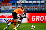 Onderwerp/Subject: Willem II - FC Volendam - Jupiler League<br /> Reklame:  <br /> Club/Team/Country: <br /> Seizoen/Season: 2013/2014<br /> FOTO/PHOTO: Terell ONDAAN (R) of Willem II claims a penalty after a duel with Gerry KONING (L) of FC Volendam. (Photo by PICS UNITED)<br /> <br /> Trefwoorden/Keywords: <br /> #04 #05 $94 &plusmn;1372506528100<br /> Photo- &amp; Copyrights &copy; PICS UNITED <br /> P.O. Box 7164 - 5605 BE  EINDHOVEN (THE NETHERLANDS) <br /> Phone +31 (0)40 296 28 00 <br /> Fax +31 (0) 40 248 47 43 <br /> http://www.pics-united.com <br /> e-mail : sales@pics-united.com (If you would like to raise any issues regarding any aspects of products / service of PICS UNITED) or <br /> e-mail : sales@pics-united.com   <br /> <br /> ATTENTIE: <br /> Publicatie ook bij aanbieding door derden is slechts toegestaan na verkregen toestemming van Pics United. <br /> VOLLEDIGE NAAMSVERMELDING IS VERPLICHT! (&copy; PICS UNITED/Naam Fotograaf, zie veld 4 van de bestandsinfo 'credits') <br /> ATTENTION:  <br /> &copy; Pics United. Reproduction/publication of this photo by any parties is only permitted after authorisation is sought and obtained from  PICS UNITED- THE NETHERLANDS