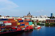 Containerhafen, Binnenhafen, Mannheim, Baden-Württemberg, Deutschland | container port river Rhine, Mannheim, Baden-Wurttemberg, Germany