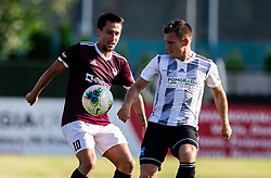 Victor Aliaga Verdu of Triglav vs Klemen Šturm of Mura during football match between NK Triglav and NS Mura in 5th Round of Prva liga Telekom Slovenije 2019/20, on August 10, 2019 in Sports park, Kranj, Slovenia. Photo by Vid Ponikvar / Sportida