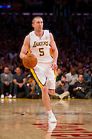 25 December 2011: Guard Steve Blake of the Los Angeles Lakers dribbles the ball up the court against the Chicago Bulls during the second half of the Bulls 88-87 victory over the Lakers at the STAPLES Center in Los Angeles, CA.