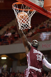 08 February 2018:  Sean Lloyd Jr. for the jam during a College mens basketball game between the Southern Illinois Salukis and Illinois State Redbirds in Redbird Arena, Normal IL