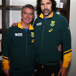 LONDON, ENGLAND - OCTOBER 21: Heyneke Meyer (Head Coach) of South Africa with Victor Matfield during the South African national rugby team announcement at Radisson Blu Edwardian, Guildford on October 21, 2015 , England. (Photo by Steve Haag/Gallo Images)