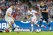 Melbourne Victory forward Ola Toivonen (11) runs the ball towards goal at the Hyundai A-League Round 6 soccer match between Melbourne Victory and Western Sydney Wanderers at Marvel Stadium in Melbourne.