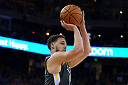 April 30, 2019; Oakland, CA, USA; Golden State Warriors guard Klay Thompson (11) shoots the basketball against the Houston Rockets during the third quarter in game two of the second round of the 2019 NBA Playoffs at Oracle Arena. The Warriors defeated the Rockets 115-109.