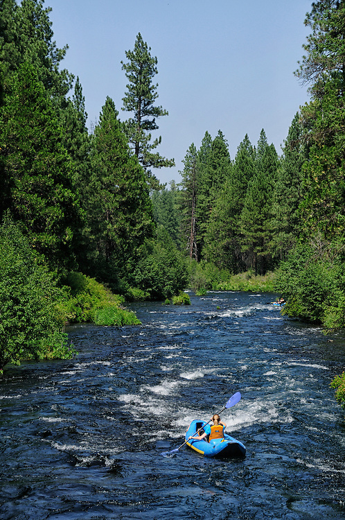 Kayak on the Metolius river near Camp Sherman,Oregon,USA