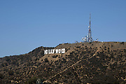 "General overall view of the Hollywood sign on Mount Lee in the Hollywood Hills area of the Santa Monica Mountains at Griffith Park in Los Angeles, Wednesday, Sept. 19, 2018.  HOLLYWOOD"" is spelled out in 44-foot (13.4m)-tall white capital letters and is 352 feet (107m) long. The sign was originally created in 1923 as an advertisement for a local real estate development."