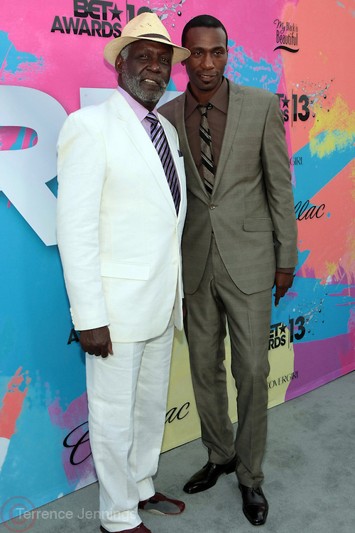 """Los Angeles, CA-June 29:  (L-R) Actor Richard Roundtree and Actor/Recording Artist Leon attends the Seventh Annual """" Pre """" Dinner celebrating BET Awards hosted by BET Network/CEO Debra L. Lee held at Miulk Studios on June 29, 2013 in Los Angeles, CA. © Terrence Jennings"""