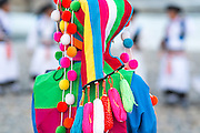 Back of colourful Lisu traditional dancer, Myitkyina