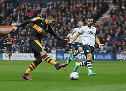 Aleksandar Mitrovic of Newcastle United scores his sides first goal - Mandatory by-line: Jack Phillips/JMP - 29/10/2016 - FOOTBALL - Deepdale - Preston, England - Preston North End v Newcastle United - EFL Championship