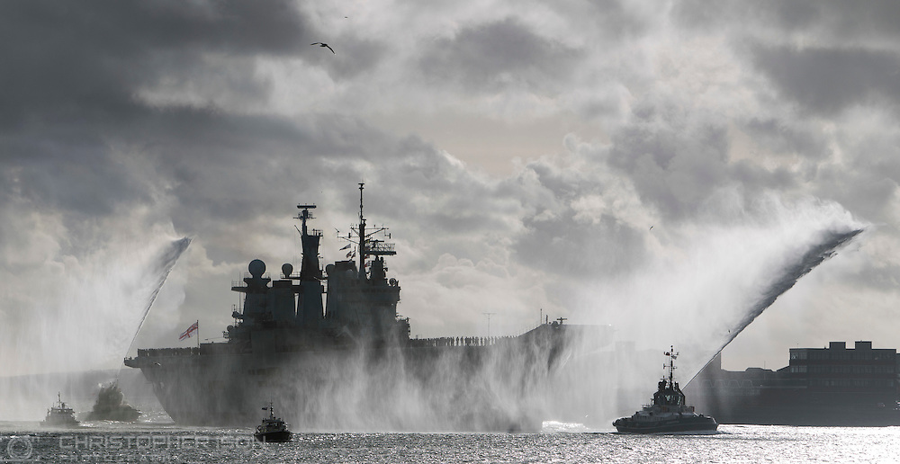 HMS Illustrious returns to Portsmouth from deployment.
