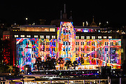 View of Museum of Contemporary Art illuminated during Sydney Vivid 2016.