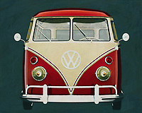 Front view of a Volkswagen bus from 1963.<br />