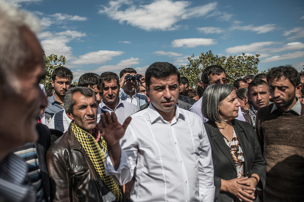 Kurdish Leaders were visiting the village next to Kobane-Syrian border after the police clash with the locals
