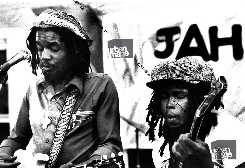 Peter Tosh.  Robbie Shakespearband the Rolling Stones during the Don't Look Back video shoot - Strawberry Hill Jamaica 1978.
