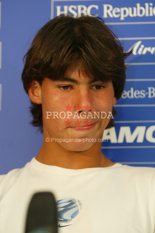 MONTE-CARLO, MONACO - Tuesday, April 15, 2003: 16-year-old Rafael Nadal (Spain) pictured at a post-match press conference following his 1st Round victory over Karol Kucera in the Tennis Masters Monte-Carlo. (Pic by David Rawcliffe/Propaganda)