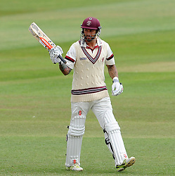 Somerset's Peter Trego celebrates his half century. - Photo mandatory by-line: Harry Trump/JMP - Mobile: 07966 386802 - 17/06/15 - SPORT - CRICKET - LVCC County Championship - Division One - Day Four - Somerset v Nottinghamshire - The County Ground, Taunton, England.