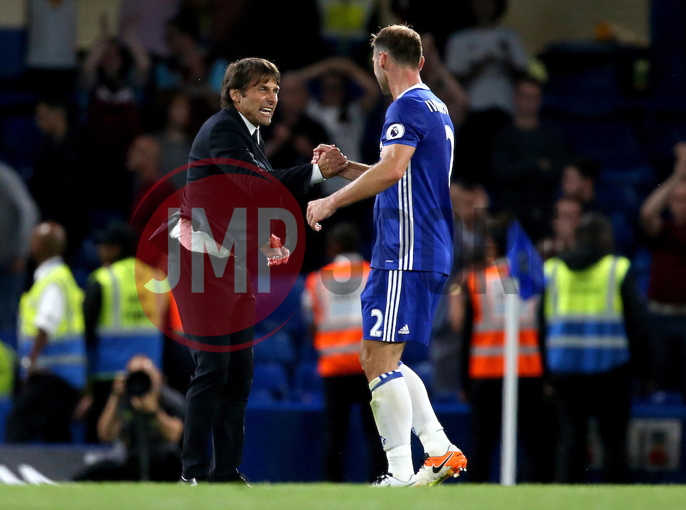 Chelsea manager Antonio Conte celebrates the win over West Ham United with Branislav Ivanovic of Chelsea - Mandatory by-line: Robbie Stephenson/JMP - 15/08/2016 - FOOTBALL - Stamford Bridge - London, England - Chelsea v West Ham United - Premier League