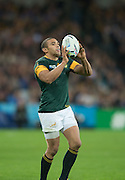 London, Great Britain,Bryan HABAHA, redirects the ball, during the  South Africa vs Argentina. 2015 Rugby World Cup, Bronze Medal Match.Queen Elizabeth Olympic Park. Stadium, Stratford. East London. England,, Friday  30/10/2015. <br /> [Mandatory Credit; Peter Spurrier/Intersport-images]