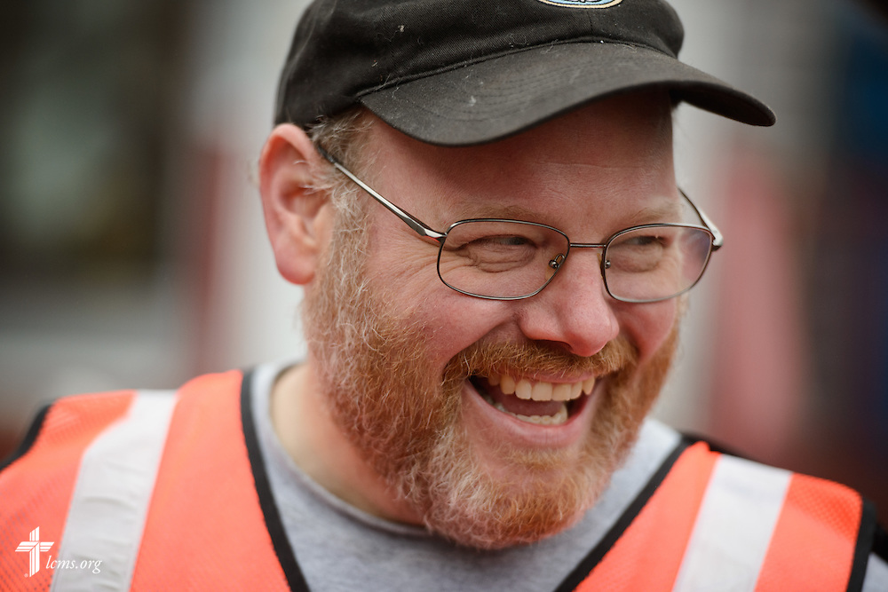 The Rev. Donald Love, pastor at Calvary Lutheran Church in Watseka, Ill., laughs during a volunteer event for cleanup of flood-damaged homes on Saturday, Jan. 9, 2016, in Watseka.  LCMS Communications/Erik M. Lunsford