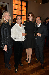 Left to right, CHARLENE SHORTO DE GANAY, CHICO BOUCHIKHI, MARTINE ASSOULINE and PROSPER ASSOULINE at a party to celebrate the launch of the Maison Assouline Flagship Store at 196a Piccadilly, London on 28th October 2014.  During the evening Valentino signed copies of his new book - At The Emperor's Table.