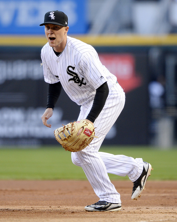 CHICAGO - APRIL 22:  Cody Asche #25 of the Chicago White Sox fields against the Cleveland Indians on April 22, 2017 at Guaranteed Rate Field in Chicago, Illinois.  The Indians defeated the White Sox 7-0.  (Photo by Ron Vesely)   Subject:  Cody Asche
