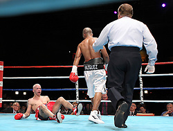 December 16, 2010; New York, NY; USA;   Rafael Vazquez knocks out Hector Rivera in the third round of their bout at Roseland Ballroom.