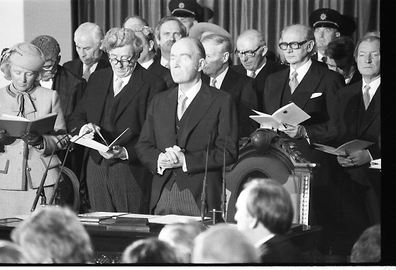 Inaugeration of President Hillery..1983.03.12.1983.12.03.1983.3rd December 1983...Dignitaries from home and abroad attended the Inaugeration of Patrick Hillery, as president of Ireland. the ceremony took place at St Patrick's Hall,Dublin Castle...Photograph of some of the leading lights of Irish politics include (from left),.Mr Peter Barry,Mr Garret Fitzgerald,Mr John Bruton,President Hillery,Mr Liam Cosgrave,Mr Jack Lynch and Mr Charles Haughey.