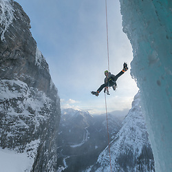 Mark Howell rappeling Saddam's Insane, WI5 100m, Kananaskis, Alberta, Canada