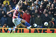 Aston Villa midfielder Jack Grealish (10) takes a shot at goal during the EFL Sky Bet Championship match between Birmingham City and Aston Villa at St Andrews, Birmingham, England on 10 March 2019.