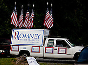 """A truck outside a rally in Cornwall, Pennsylvania for republican presidential candidate Mitt Romney where he  takes his campaign on the road with his """"Every Town Counts"""" bus tour."""