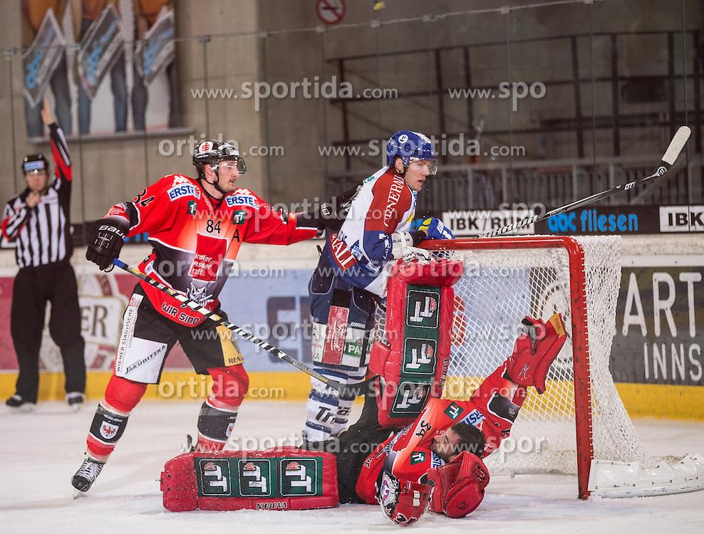19.10.2012, Tiroler Wasserkraft Arena, Innsbruck, AUT, EBEL, HC TWK Innsbruck vs KHL Medvescak Zagreb, 13. Runde, im Bild Stefan Pittl, (HC TWK Innsbruck, # 84), Thomas Tragust, (HC TWK Innsbruck, # 34), Adam Naglich, (KHL Medvescak Zagreb, # 7) // during the Erste Bank Icehockey League 13nd round match between HC TWK Innsbruck and KHL Medvescak Zagreb at the Tiroler Wasserkraft Arena, Innsbruck, Austria on 2012/10/19. EXPA Pictures © 2012, PhotoCredit: EXPA/ J. Groder