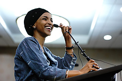 Ilhan Omar delivers her victory speech after becoming the first Somali-American elected to Congress, representing Minnesota's Fifth District, at her election night headquarters in Minneapolis on Tuesday, November 6, 2018. Photo by Mark Vancleave/Minneapolis Star Tribune/TNS/ABACAPRESS.COM